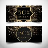 Gift voucher in luxury Art deco style. Vector discount card. Abs. Tract vintage patterns and design elements. Retro geometric background set in 1920's style Royalty Free Stock Photo