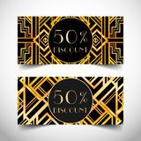Gift voucher in luxury Art deco style. Vector discount card. Art. Deco tiles. Abstract  vintage patterns and design elements. Retro  geometric background set ( Stock Photo