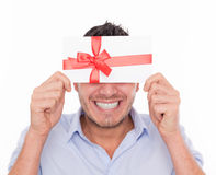Gift voucher man Stock Photos