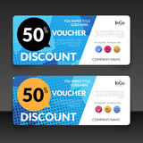 Gift voucher market offer template layout with colorful modern triangle business design. Certificate special discount Royalty Free Stock Image