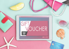 Gift Voucher Offer Coupon Concept.  Stock Photos