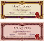 Gift Voucher Ornament Frame Royal Purple and Red Royalty Free Stock Images