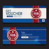 Gift Voucher Premier Color. Gift Voucher, certificate coupon design, Vector illustration Stock Photo