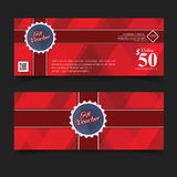 Gift Voucher Premier Color, Ribbons and red bow. Royalty Free Stock Images