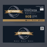 Gift Voucher Premier Gold Color Design concept for gift coupon, invitation, certificate, flyer, banner, ticket. Stock Photos
