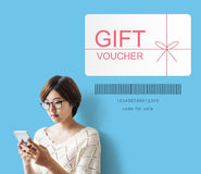 Gift Voucher Promo Code Concept. Gift Voucher Promo Code Coupon Royalty Free Stock Photography