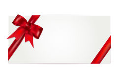 Gift voucher with red bow. Isolated on white. Vector illustration Royalty Free Stock Photography