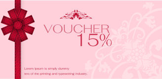 Gift voucher with red ribbon stock illustration