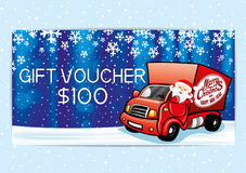 Gift voucher with Santa Claus. Royalty Free Stock Image