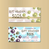 Gift Voucher Template With Abstract Texture and Pears For your Designt. Stock Photos