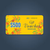 Gift voucher template. Autumn Super Sale banner on colorful background. Royalty Free Stock Photography