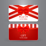 Gift voucher template with bow. Vector illustration. EPS 10 vector illustration