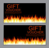 Gift Voucher Template with Burning Flame of Fire. Discount Coupo. N. Vector Illustration. EPS10 Royalty Free Stock Photography