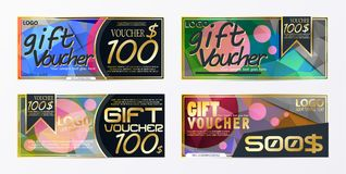 Gift voucher template card template with currency vector illustr Stock Images