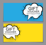 Gift Voucher Template with cartoon Background. Discount Coupon. Vector Illustration. EPS10 Stock Photos