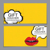 Gift Voucher Template with cartoon Background. Discount Coupon. Vector Illustration. EPS10 Royalty Free Stock Photography