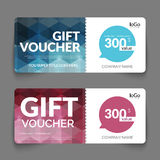 Gift voucher template with colorful and modern. Hexagonal design. Certificate coupon design template Stock Photography