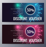 Gift voucher template with colorful modern style Stock Photography