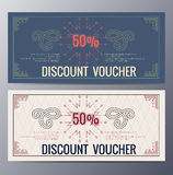 Gift voucher template with colorful pattern Stock Photo