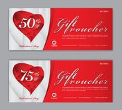 Gift Voucher template, Coupon, discount, for Happy Valentine`s Day, Sale banner, Horizontal layout, discount cards, headers royalty free illustration
