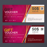 Gift Voucher Template Design concept for gift coupon. Gift Voucher Premier Vector gift voucher template ribbons. Golden, Design concept for gift coupon Stock Image
