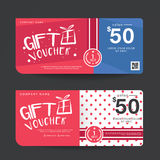 Gift Voucher Template Design concept for gift coupon. Gift Voucher Premier Vector gift voucher template ribbons. Golden, Design concept for gift coupon Stock Photo