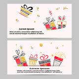 Gift voucher template design with hand drawn gift boxes. Royalty Free Stock Photos