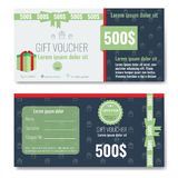 Gift voucher template design with trendy, modern outline pattern Royalty Free Stock Image