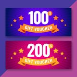 Gift voucher template, 100 and 200 dollars coupons. Vector illustration Royalty Free Stock Photos