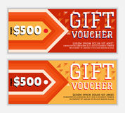 The gift voucher template with elements of an arrow and a triangular decor in flame red and yellow colors Stock Photography
