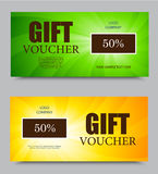 Gift voucher template. On fifty percent rate discount with orange and green light swirl pattern. Vector illustration Royalty Free Stock Images