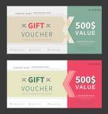 Gift voucher template. Flat design Royalty Free Illustration