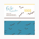 Gift voucher template with floral. Discount card concept Royalty Free Stock Photography
