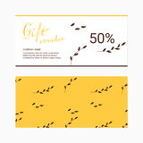 Gift voucher template with floral. stock illustration