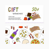 Gift voucher template with food. Discount card concept Stock Photo