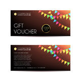 Gift voucher template with a garland from flags vector illustration. Unusual design of voucher usable for gift coupon, voucher, invitation, certificate, diploma vector illustration