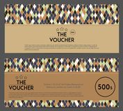 Gift Voucher Template with Geometric Background Stock Photography