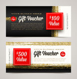 Gift voucher template with glitter gold Stock Image