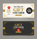 Gift voucher template with glitter gold Royalty Free Stock Photo
