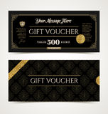 Gift voucher template with glitter gold Royalty Free Stock Photos