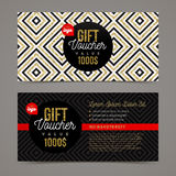 Gift voucher template. With glitter gold elements. Design for invitation, certificate, gift coupon, ticket, voucher, diploma etc. Vector illustration Royalty Free Stock Image
