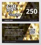 Gift voucher template with gold low polygon background, golden geometric black line. Stock Images