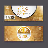 Gift voucher template with gold pattern, certificate. Background Royalty Free Stock Image
