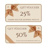 Gift voucher template with golden ribbon and a bow Stock Images