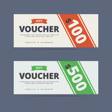 Gift voucher template. Gift voucher template, layout. Gift voucher coupon. 100 and 500 dollars. Vector illustration in clean flat style for print or web design Stock Illustration