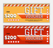 The gift voucher template with lines and an oblique band in flame red and yellow colors. The modern, colorful design Royalty Free Stock Photos