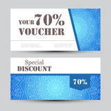Gift voucher template with mandala. Design certificate for sport center, magazine or etc. Vector gift coupon with Royalty Free Stock Images