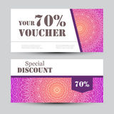 Gift voucher template with mandala. Design certificate for sport center, magazine or etc. Vector gift coupon with Royalty Free Stock Photos