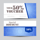 Gift voucher template with mandala. Design certificate for sport center, magazine or etc. Vector gift coupon with Stock Photos