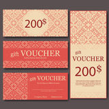 Gift voucher template with mandala. Design certificate for sport center, magazine or etc. Vector gift coupon with ornament on back Stock Image